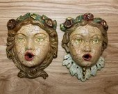 Antique Pair Face Mask Wall Plaque Jenny Lind Painted Pottery