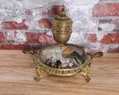 Antique Bronze Porcelain French Viennese Suspended Inkwell