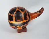 Hand Carved Gourd Turtle Rattle Raquel's Collection Peruvian Folk Art