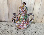 Vintage Murano Millefiori Art Glass Teapot Paperweight Made In Italy