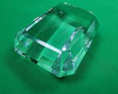 Vintage Tiffany & Co. Signed Faceted Emerald Cut Diamond Crystal Paperweight