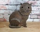 Old Sheet Metal Welded Outsider Folk Art Sitting Cat