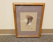 "Vintage Framed Robert Redbird Signed Painting ""Kiowa"""