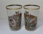 Pair 1911 Coronation Glass Tumblers Queen Mary King George