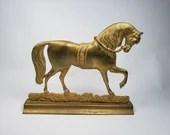 Large Brass Horse Stallion Door Stop Havin Co 9 in Tall