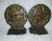 Art Nouveau Cast Iron Bronzed Bookends Michelangelos David