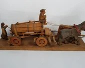 1920s Anri Wooden Hand Carved Horse Drawn Beer Water Wagon