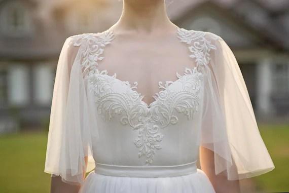 Grace Flutter Sleeve Bridal Top / Bridal Bodysuit / Ivory