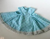 Vintage Girls 70s Plaid and Flowers Blue Summer Dress with lace (6 mos to 10 mos)