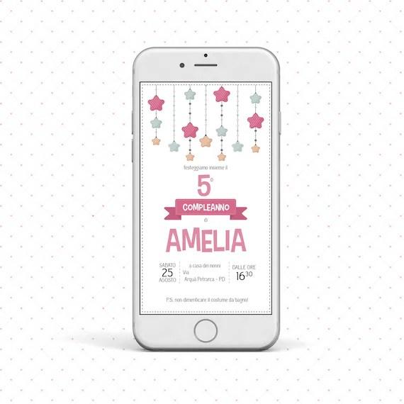 Invito Digitale Whatsapp Festa Compleanno Bimba Stelle
