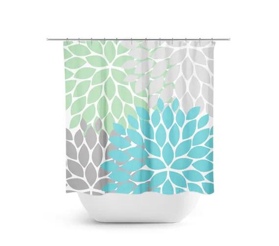 sea glass shower curtain green blue gray bathroom decor flower shower decor bath curtain floral bathroom guest bathroom shower47