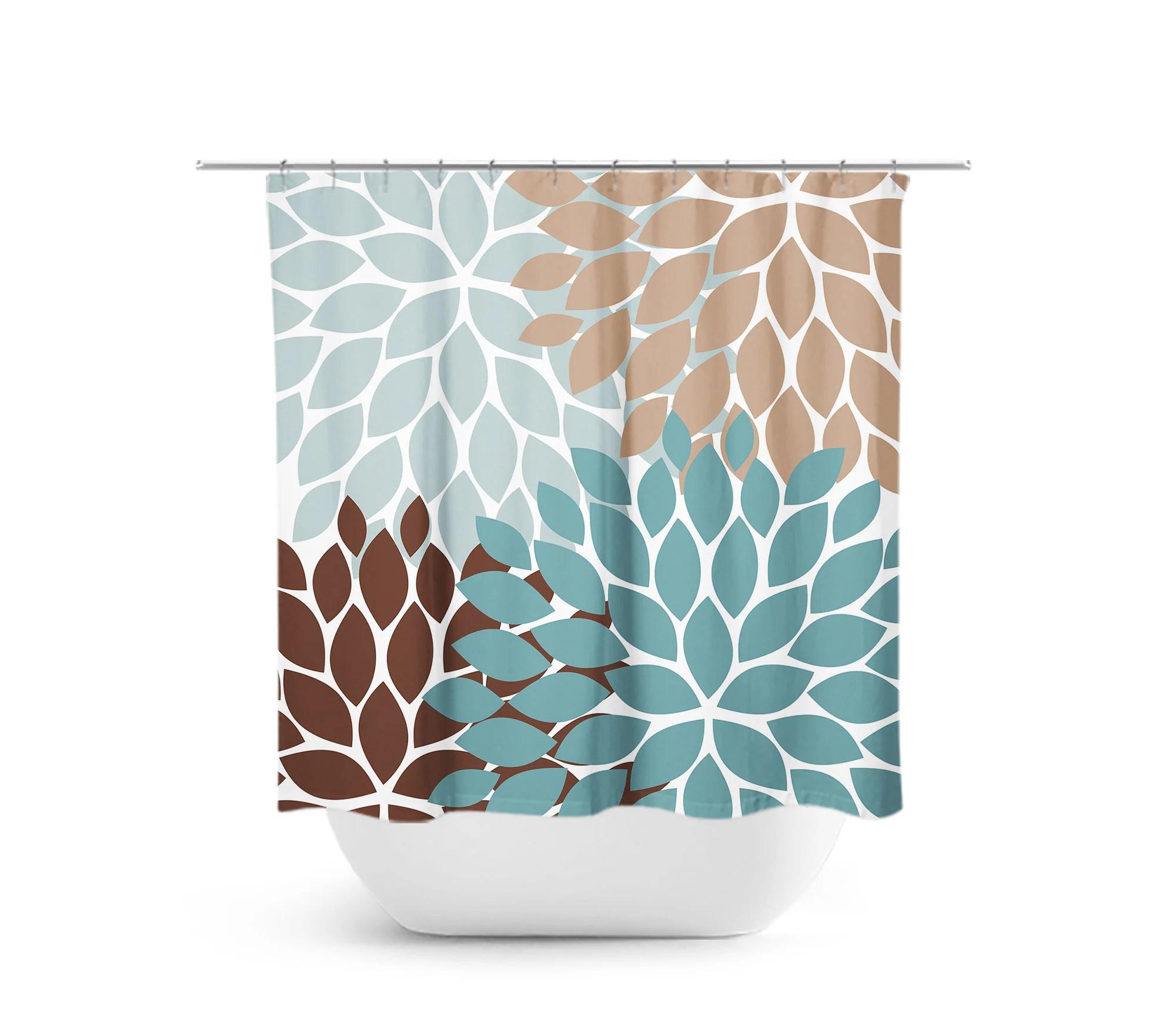 Teal Brown Blue Shower Curtain Floral Bath Curtain Brown