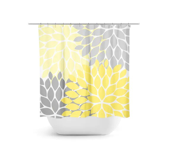 yellow and gray shower curtain floral shower curtain yellow bathroom decor guest bathroom girls bathroom floral bath curtain shower36