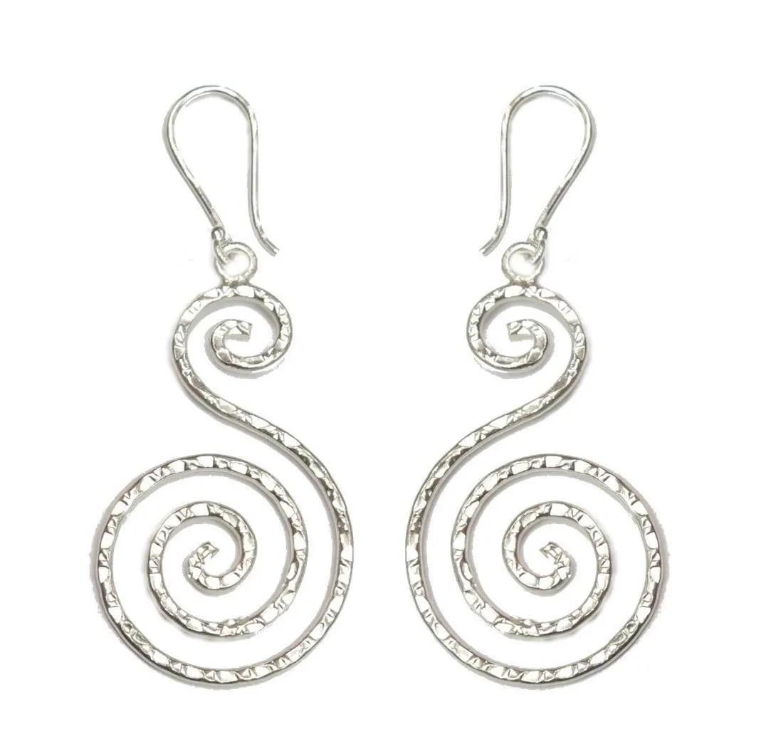 Handmade Hammered Sterling Silver Dangle Spiral Statement