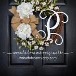 Cotton Grapevine Wreath Year Round Wreath Spring Wreath Summer Wreath Door Wreath Grapevine Wreath Artificial Wreath