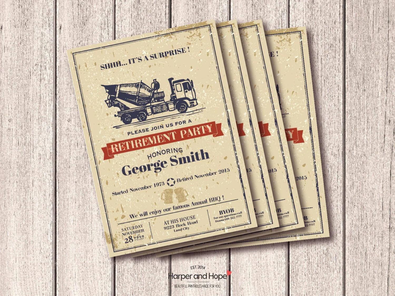 Construction Retirement Party Invitation Printable