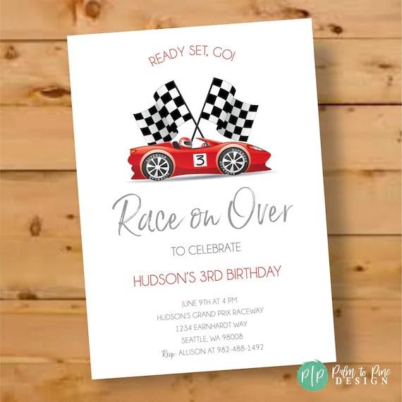 race car invitation race car birthday