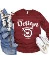 Bella Canvas 3501 Heather Cardinal Unisex T Shirt Mock Up Long Etsy