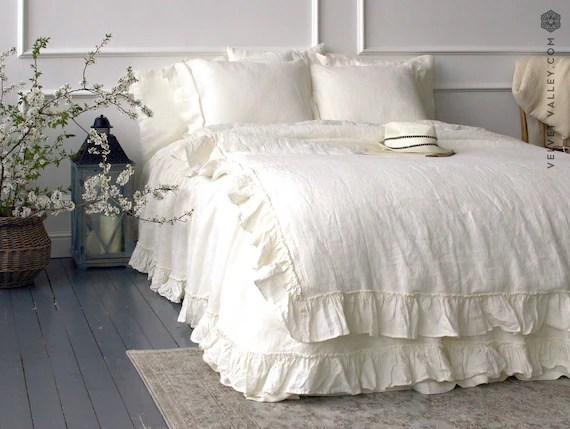 Linen Ivory White Comforter Cover White Ruffle Etsy