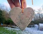 Patterned ceramic heart -...