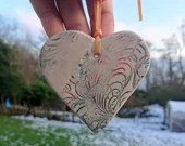 Patterned ceramic heart - hanging decoration - valentines gift -  coloured heart - lacy pattern