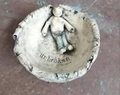 Ceramic bowl - unbroken - poetry - handmade pottery - mini sculpture - handmade in Scotland - pottery bowl - decorative bowl - strength -