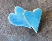 Heart brooch - ceramic he...