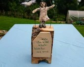 pottery people - ceramic and driftwood miniature sculpture - poetry - driftwood - unusual gift - poetry gift - ceramic art