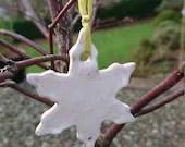 Shiny ceramic snowflake- pottery decorations - Christmas decorations- holiday - Christmas - tree decorations - snowflakes
