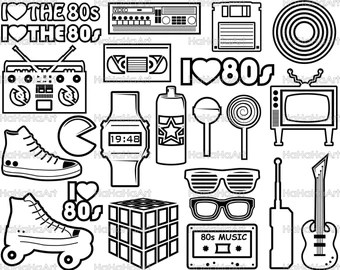 Download 1980s I Love The 80s v2 Cutting Files Svg Png Jpg Eps | Etsy
