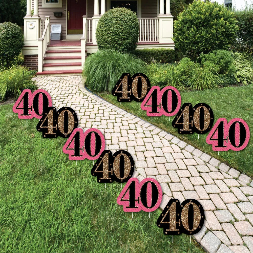 40th Birthday Lawn Decorations Outdoor Birthday Party   Etsy on Lawn Decorating Ideas id=51238