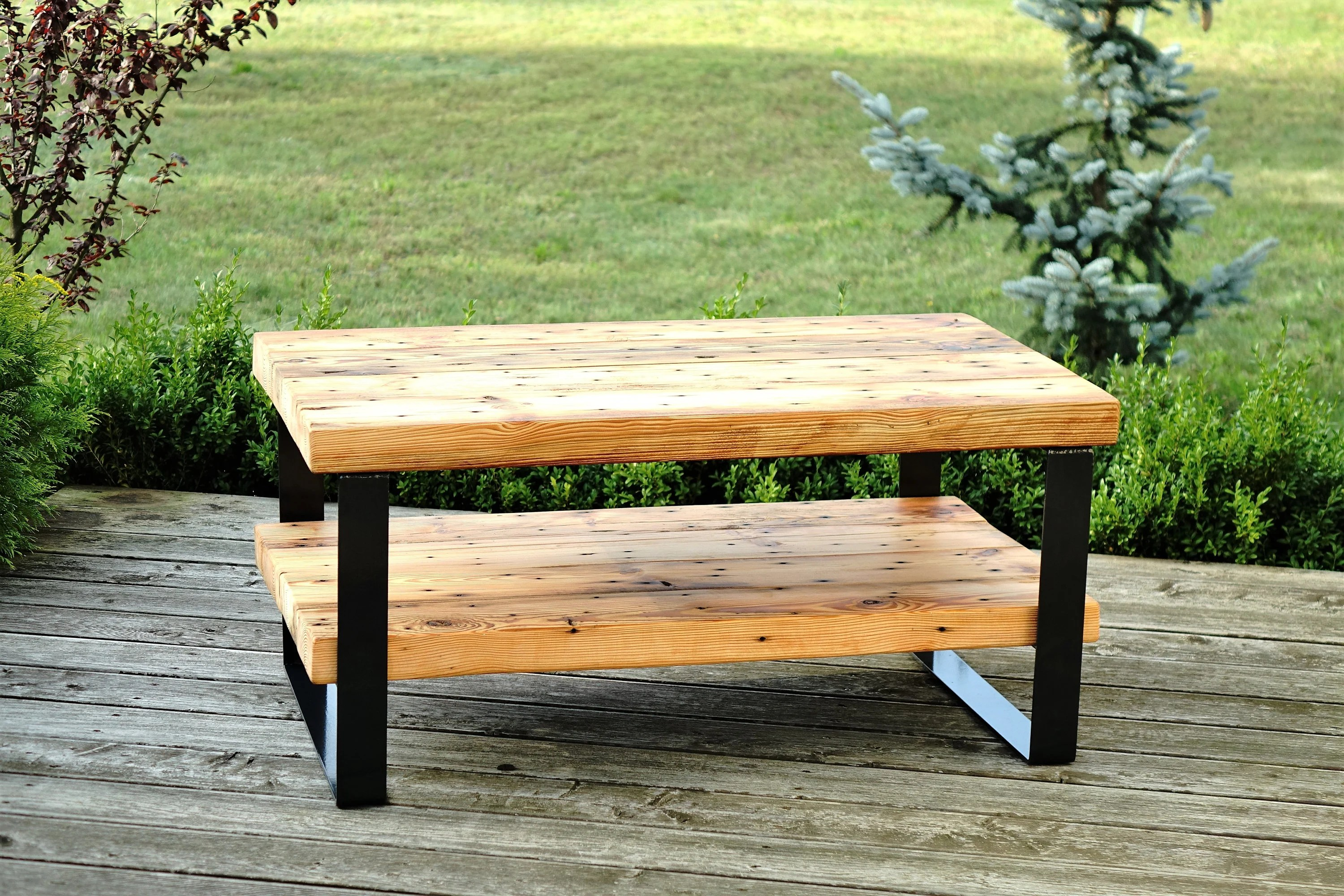 reclaimed wood beam coffee table with
