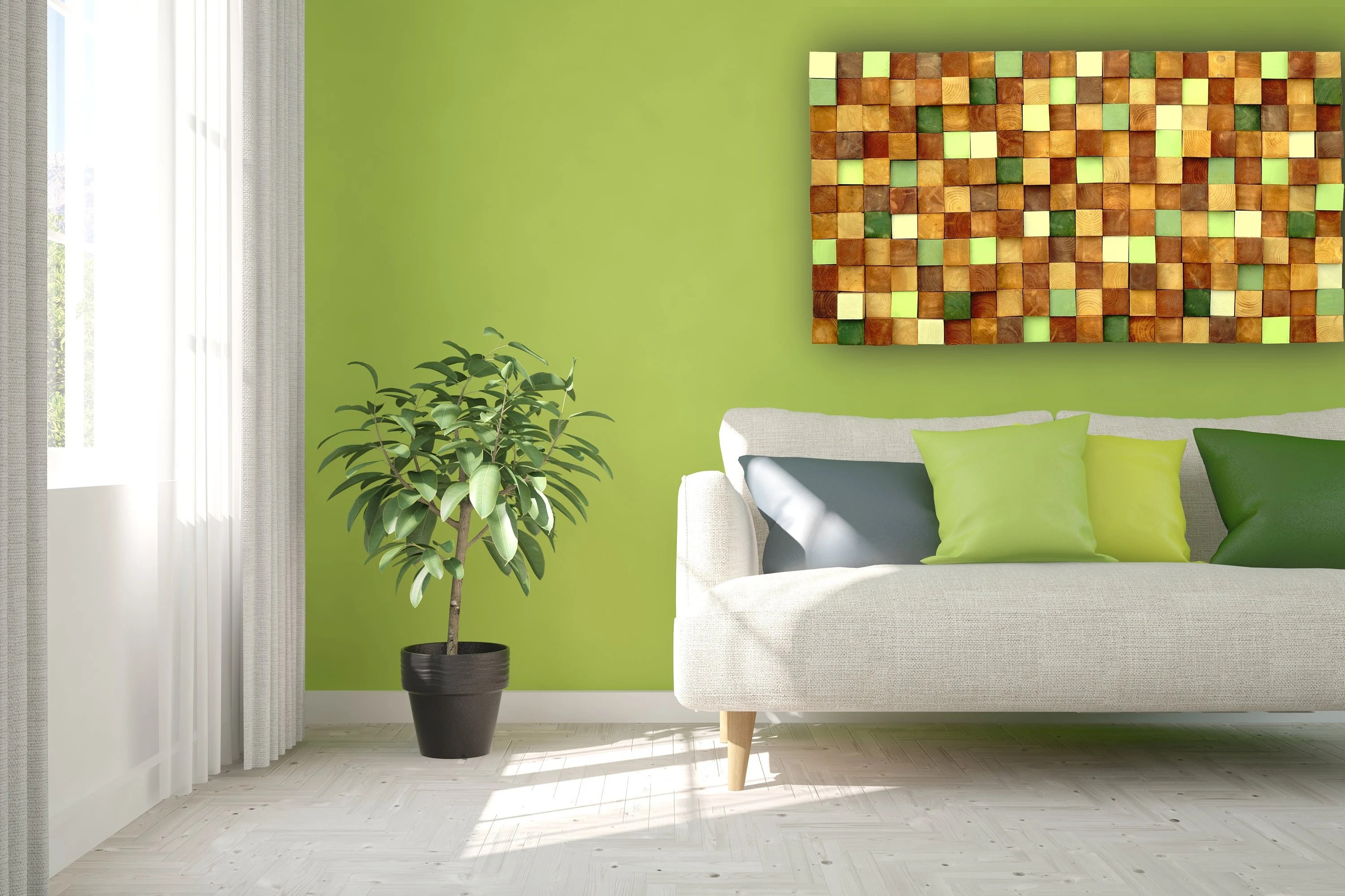Rustic Modern Autumn Wood Wall Art, Handmade With Real