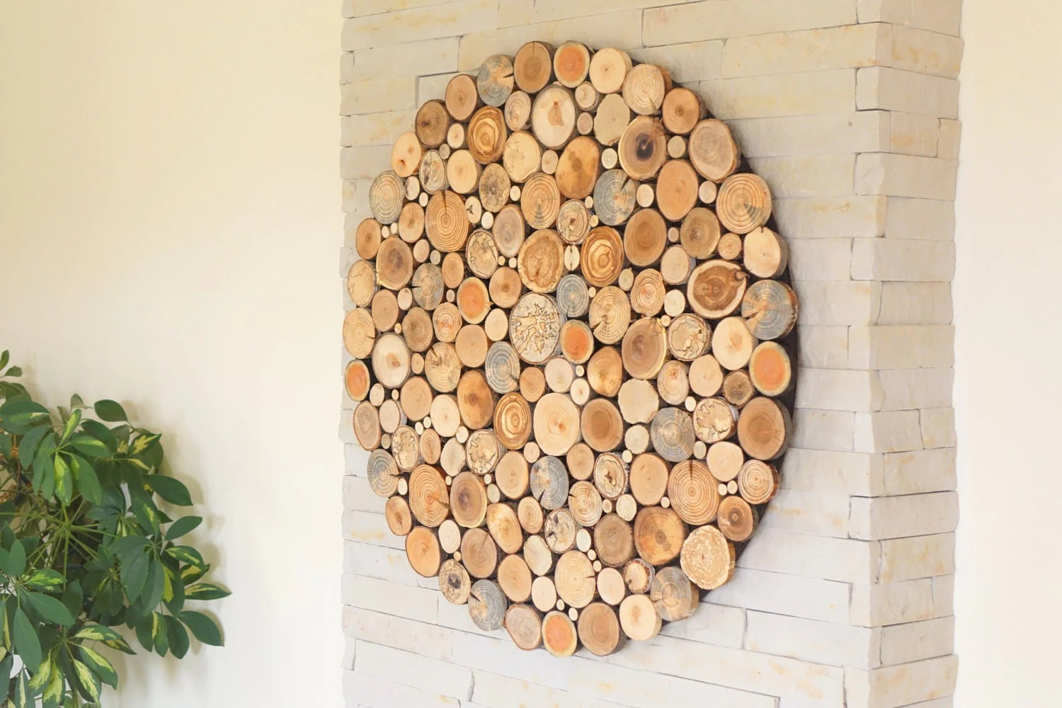 Round Wood Wall Art , Tree Rounds Decor, Holzwand Kunst