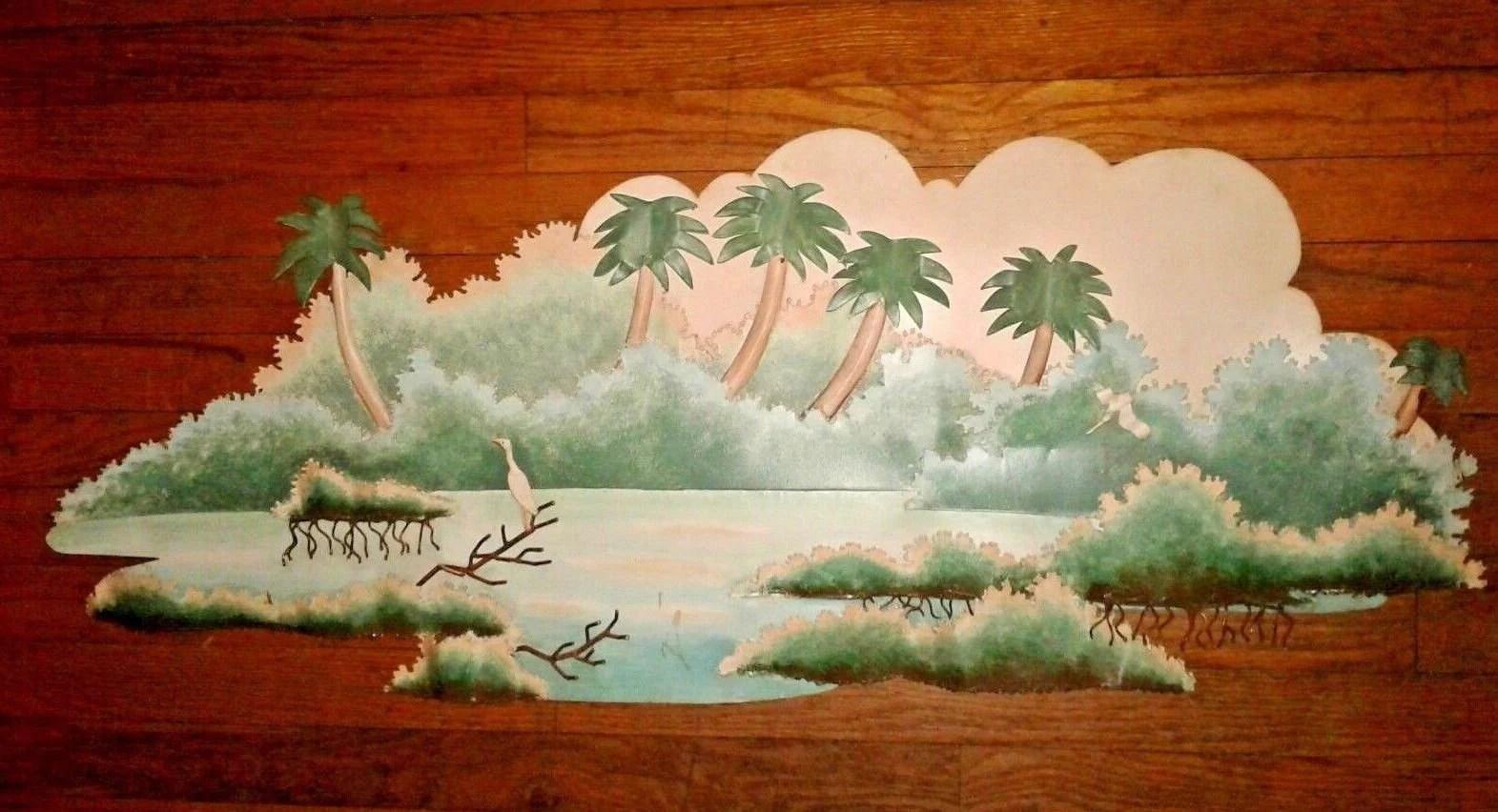 Tropical 3D Picture Metal Wall Art Handmade Beach Palm