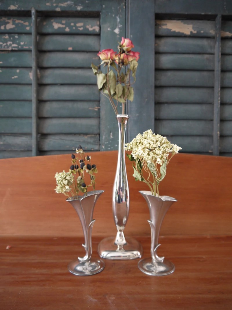 3 Silverplate Bud Vases, ...
