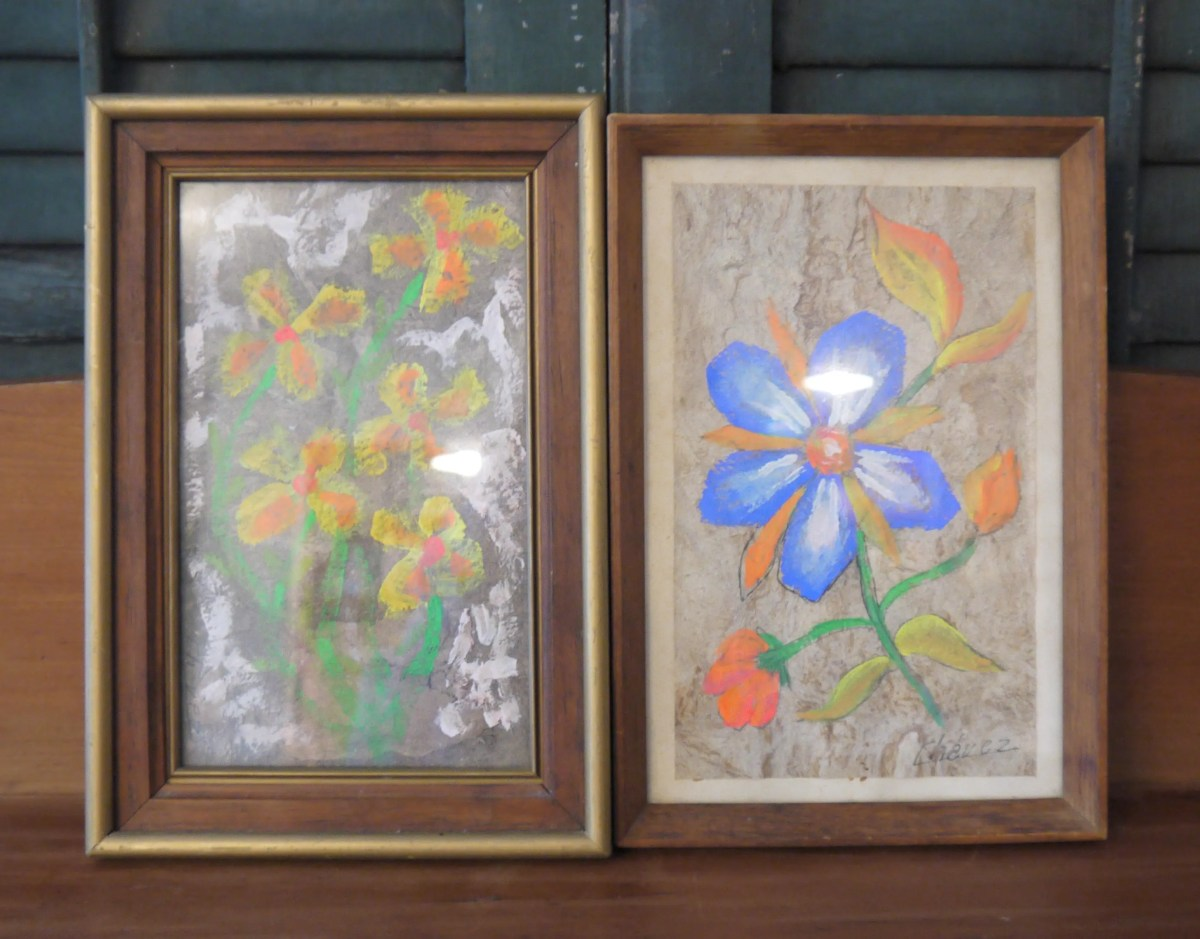 SALE!!!  Pair of Flower Paintings, 1960s Groovy, Flower Power, Still Life, Artist Chavez, Watercolor Gouache, Small Size, artwork,