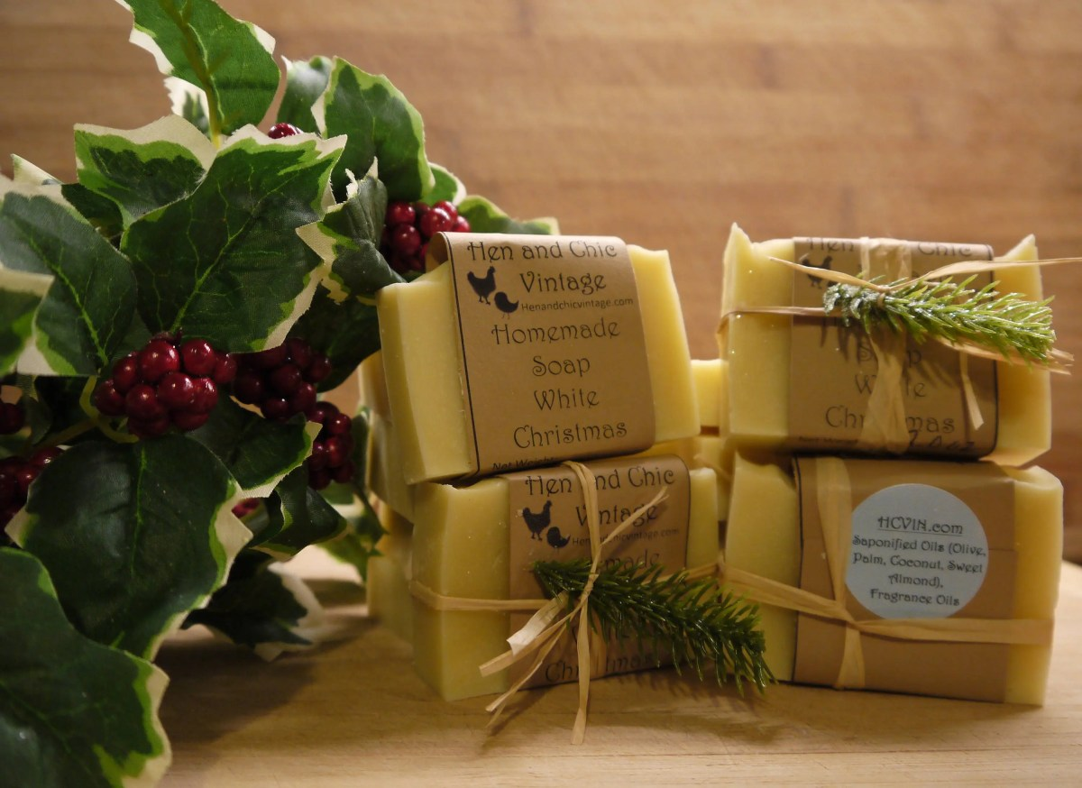SALE!!!! White Christmas Handmade Soap- Handmade, No Artificial Colors, Dyes. Cold Process Soap, Organic Ingredients.