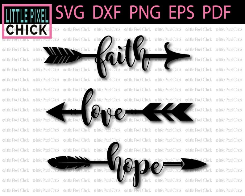 Download Faith Love Hope Arrows SVG SVG Files DXF Cut File   Etsy