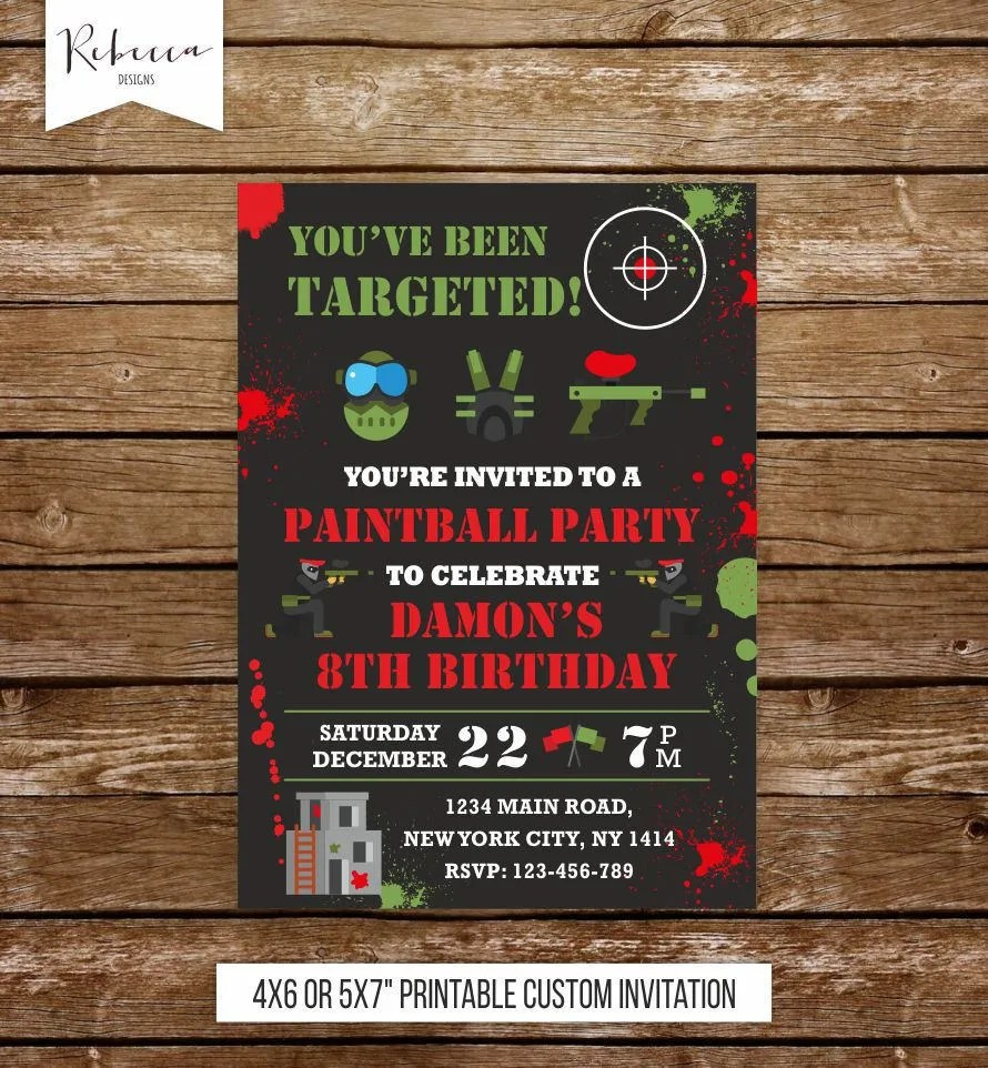 paintball birthday invitation paintball