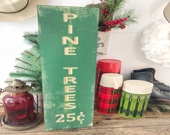 Wood Engraved Pine Tree C...
