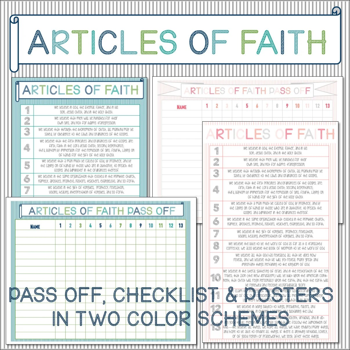 Articles Of Faith Pass Off Amp Checklist