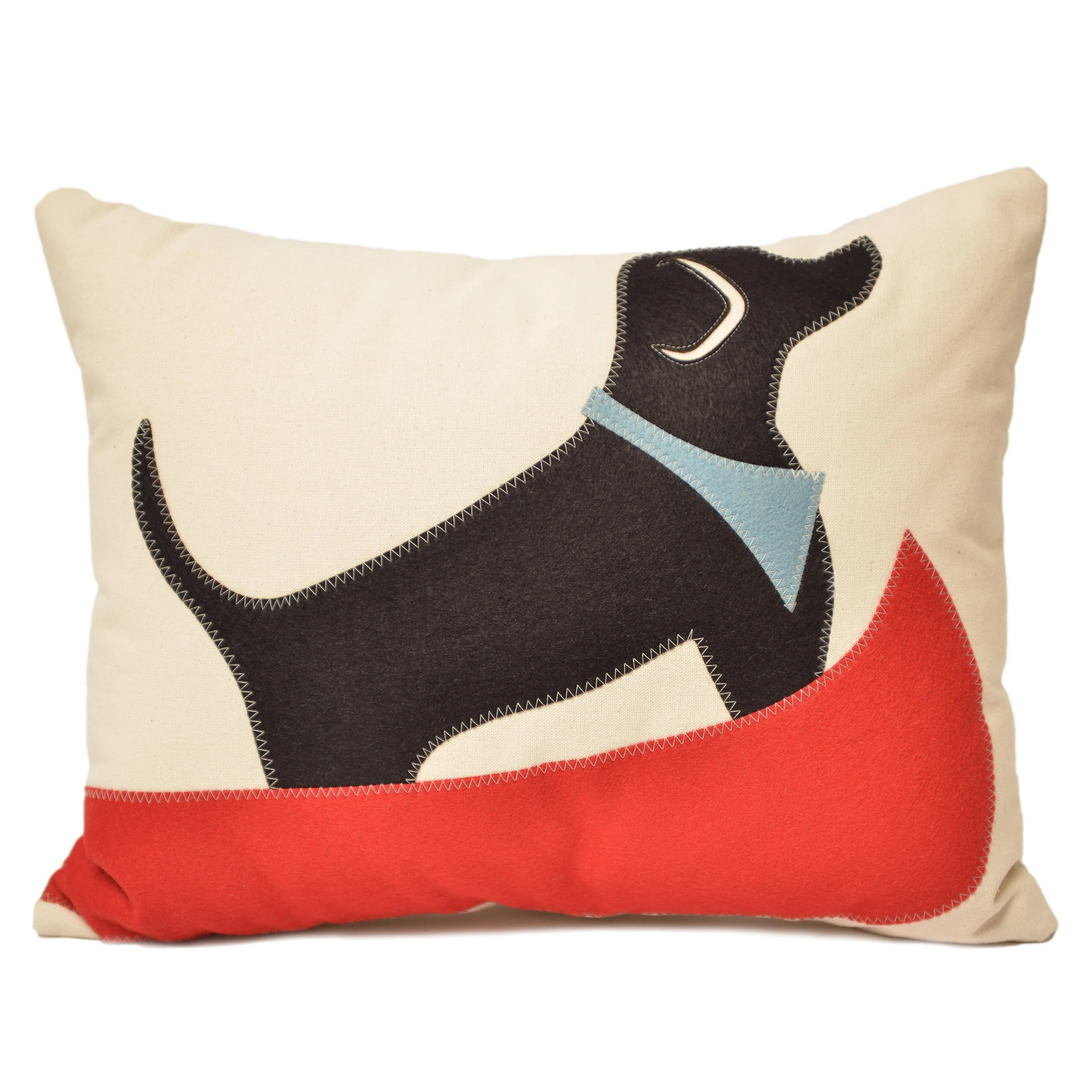 18x21 black labrador in canoe pillow red canoe kayak black lab cabin and lake house home decor the salty cottage