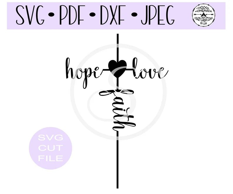 Download Hope Love Faith Cross SVG digital cut file for | Etsy