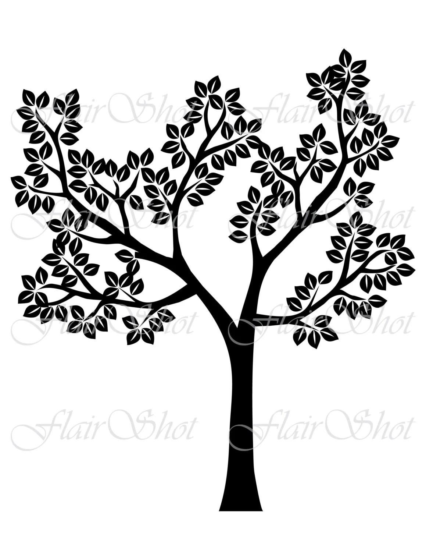 Digital Tree Clip Art Silhouette Tree Clipart Black Leaves