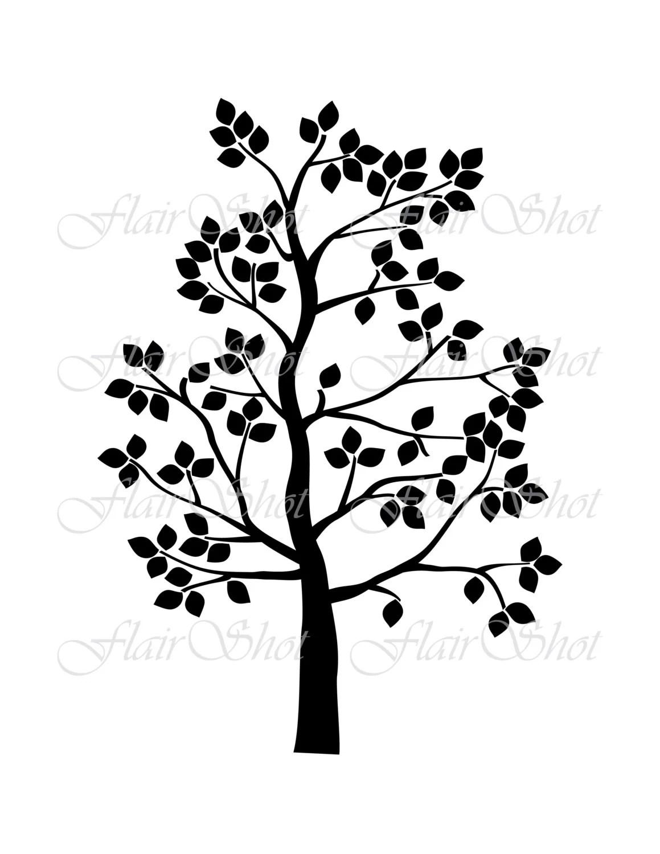 Digital Tree Clip Art Family Tree Clipart Silhouette Tree