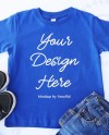 Blue Toddler Rabbit Skins Shirt Flat Lay Mockup Outfit Scene Etsy