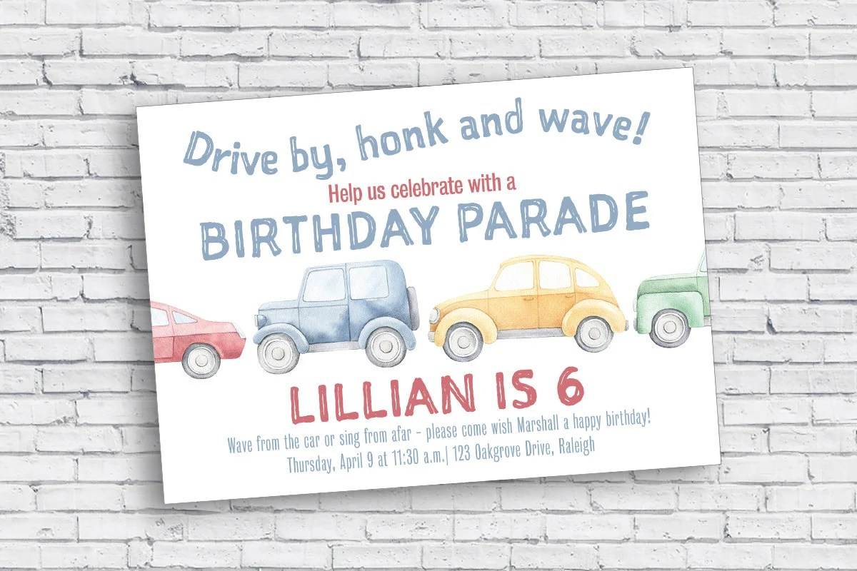 car parade social distancing birthday invitation digital download