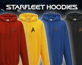 Star Trek Hoodie - Star Trek , The Original Series - Starfleet badge - Embroidered Star Trek Top -