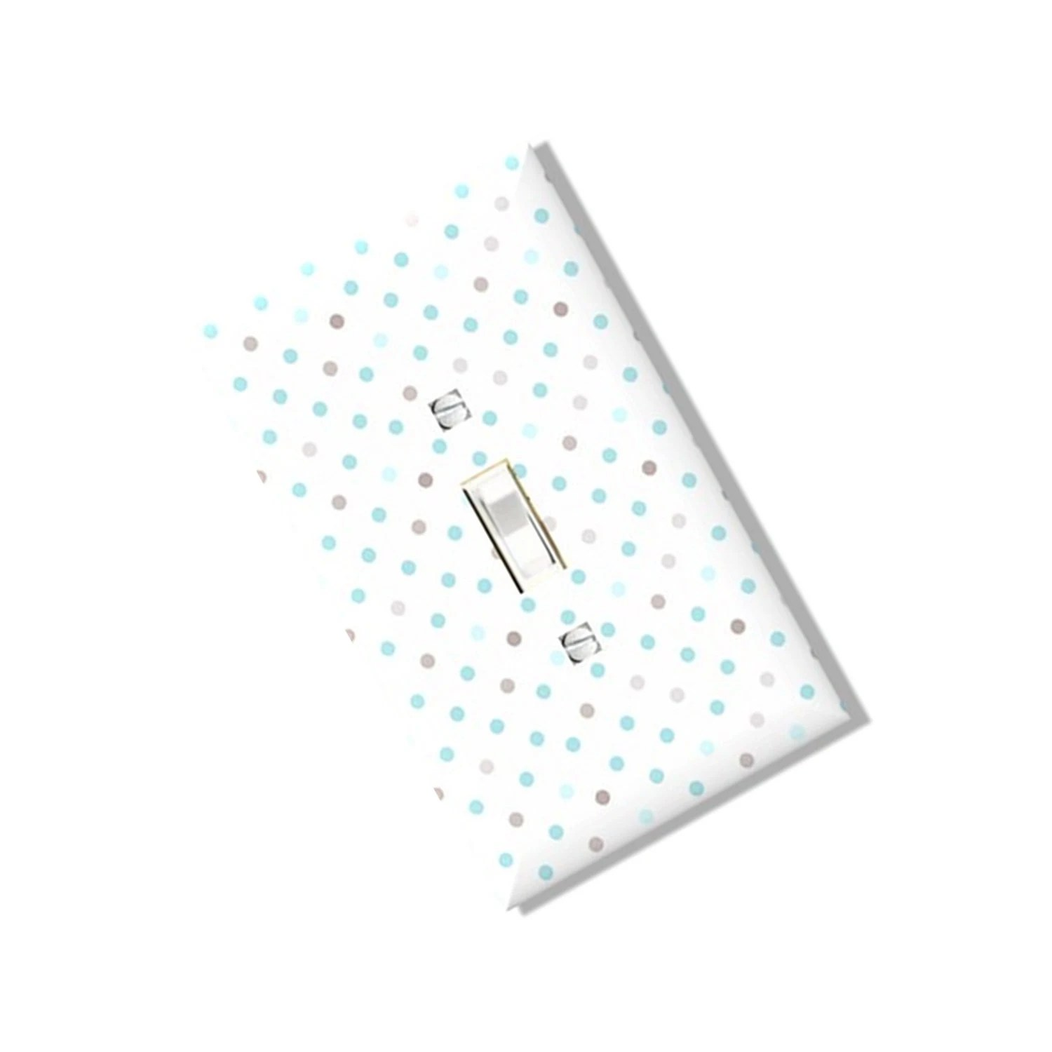 Blue Brown Dots Light Switch Cover Pastel Outlet Multi